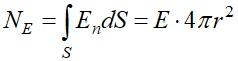 Поток вектора напряженности через поверхность S