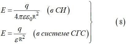 При r больше R аналогично формуле