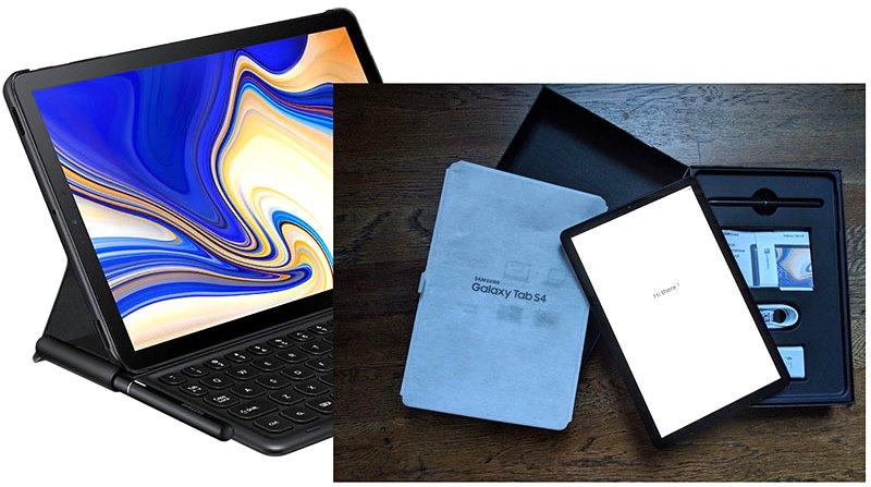 Samsung Tab S4, ближайший Android-конкурент для iPad Pro, поставляется с множеством аксессуаров (слева), чтобы вести себя как ПК