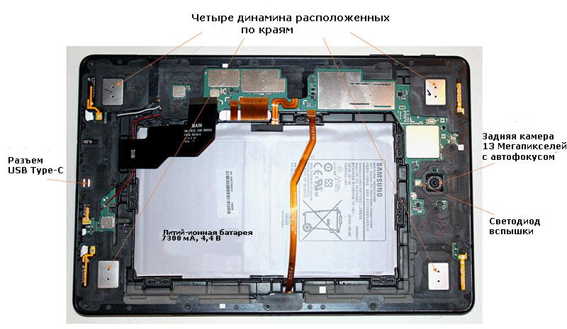 Разбор планшета показывает четыре громкоговорителя S4, аккумулятор емкостью 7300 мАч, камеру и экраны электромагнитных помех для всех полупроводников