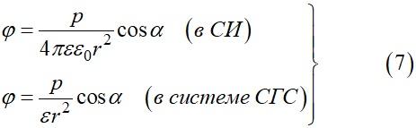 В случае если поле образовано диполем