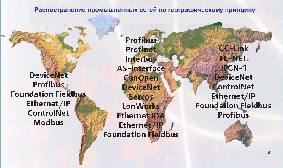 Распространение промышленных сетей в зависимости от региона