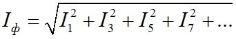 Фазный ток генератора при симметричной нагрузке