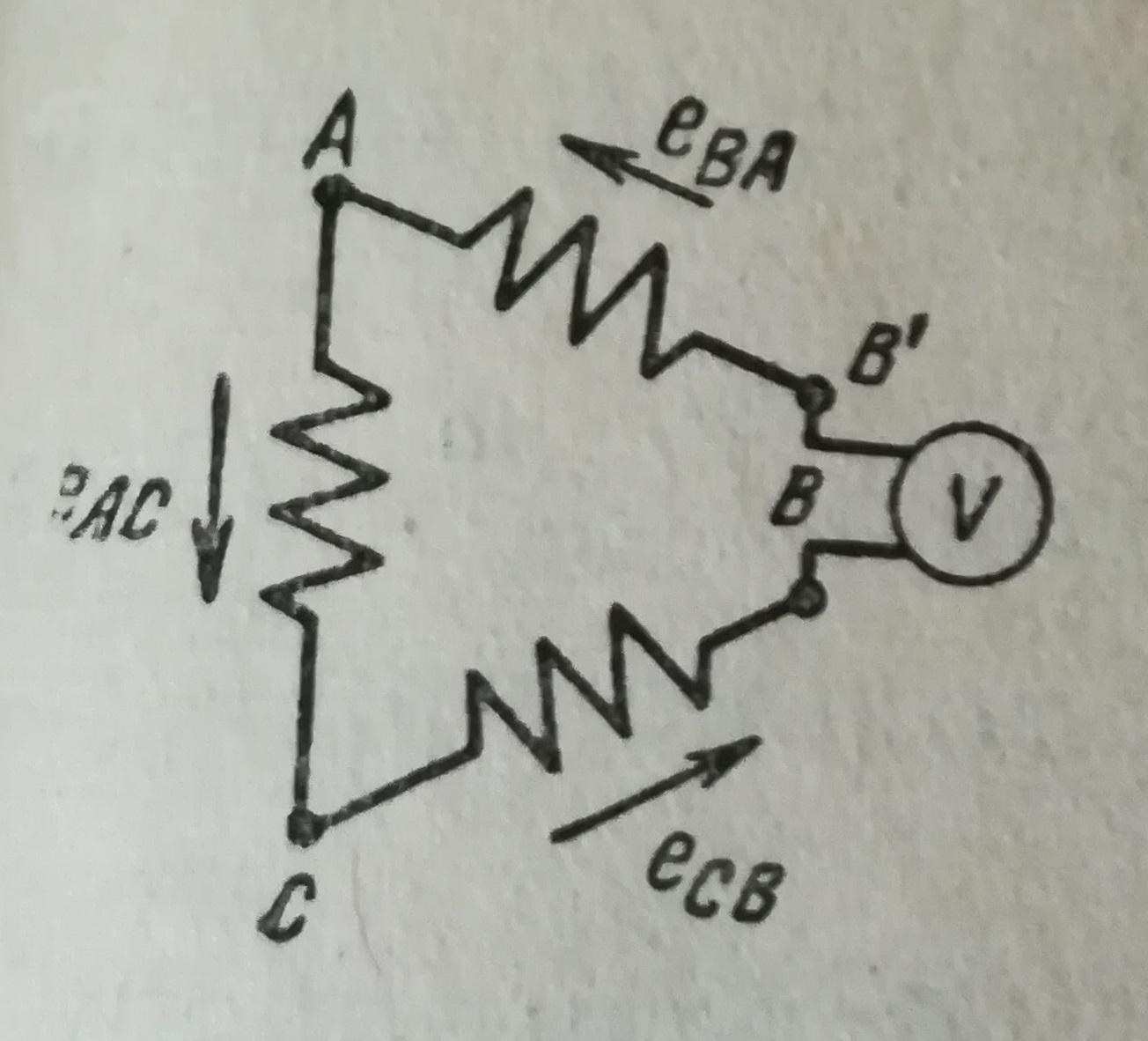 Вольтметр включенный в рассечку треугольника
