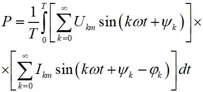 Средняя мощность за период представленная в виде тригонометрических рядов