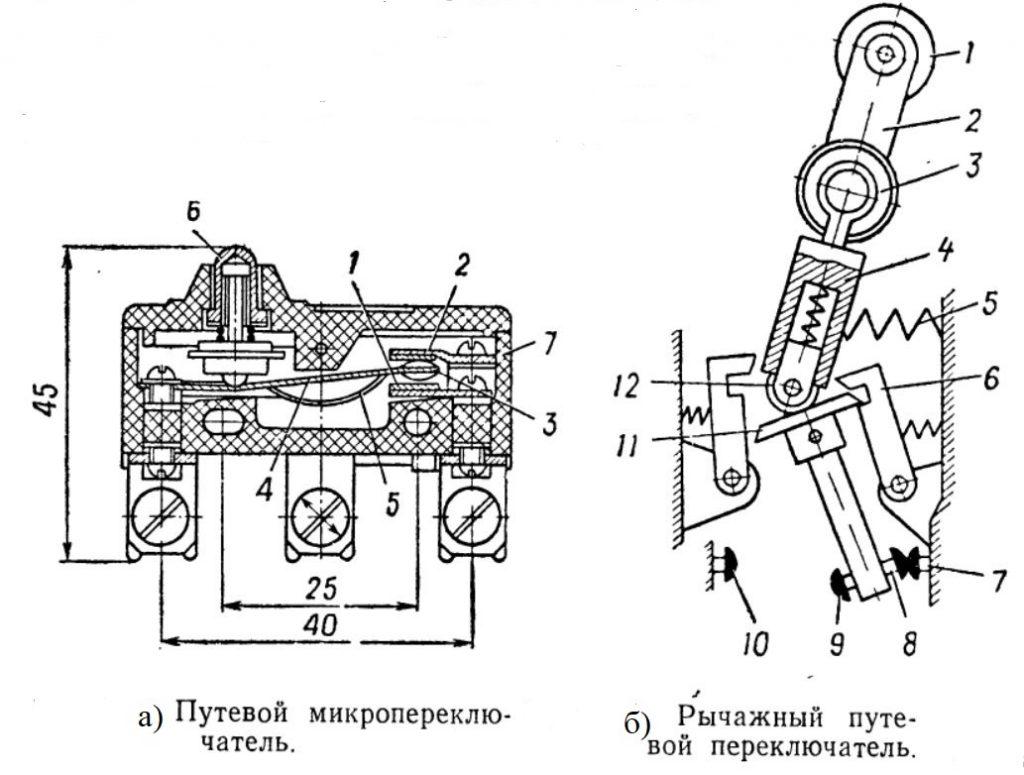 Путевой микропереключатель и рычажный путевой переключатель