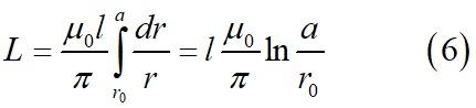Собственная индуктивность двух параллельных проводов