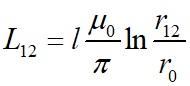 Собственная индуктивность параллельных проводов