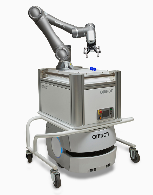 Этот экземпляр был на выставке PACK Expo 2019.  Автономный робот Omron с роботом для совместной работы (кобот) является еще одной тенденцией.  Кобот на автономном мобильном роботе добавляет дополнительные возможности, позволяя загружать и выгружать ресурсы,  не говоря уже о возможности запуска, остановки, загрузки и выгрузки машин