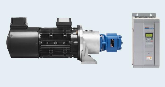 Приводные системы Bosch Rexroth Sytronix FcP включают в себя асинхронный двигатель, гидравлический насос и электронный частотно-регулируемый привод в сборе