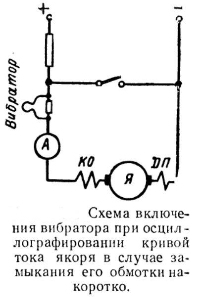 Схема включения вибратора при осциллографировании кривой тока якоря в случае замыкания его обмотки накоротко