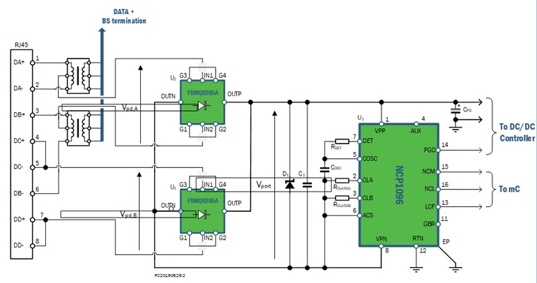 Типичная схема питания по Ethernet (PoE)