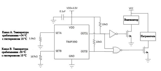 Пример схемы TMP390 при порогах + 60 ° C и -40 ° C с гистерезисом 10 ° C