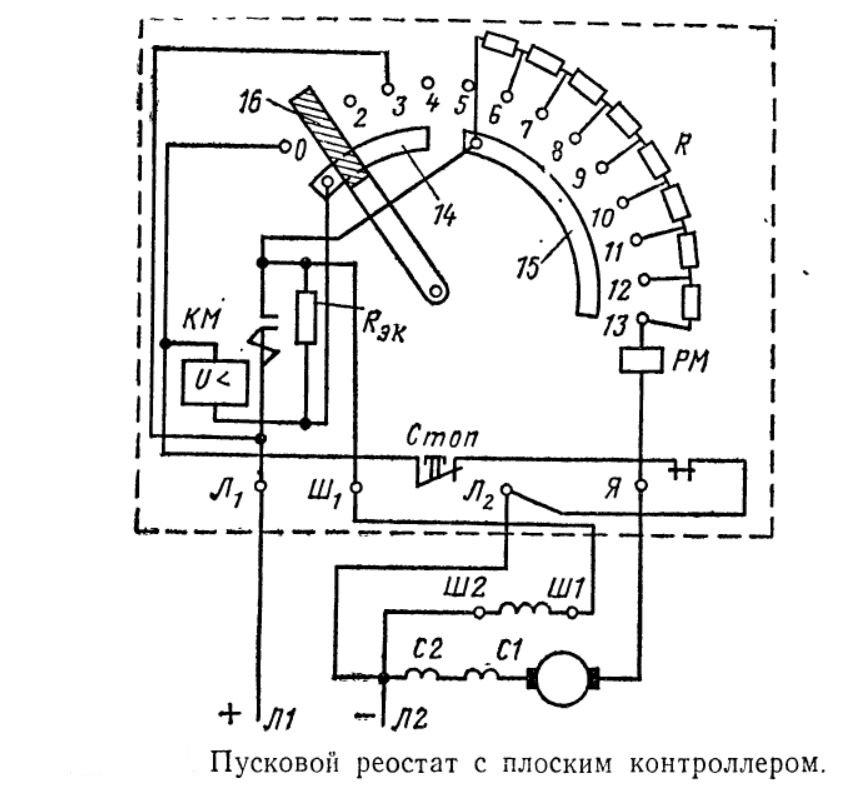 Пусковой реостат с плоским контроллером
