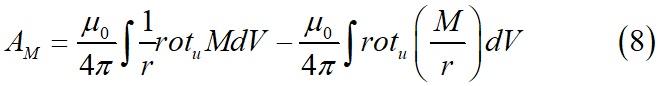 Векторный потенциал, обусловленный намагниченностью выраженный через векторный анализ