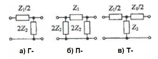 Звенья электрических фильтров Г П и Т