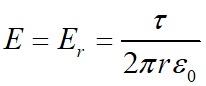 Напряженность электрического поля во всех точках цилиндрической поверхности