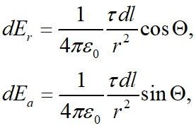 По закону Кулона для каждого элемента отрезка длиной dl