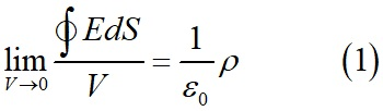 Уравнение, связывающее поток вектора напряженности поля через замкнутую поверхность и заряд в дифференциальной форме