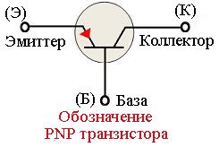 Обозначение PNP транзистора на схемах