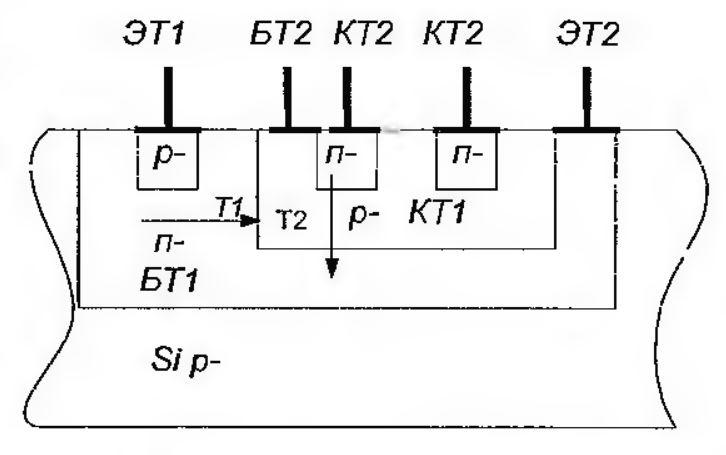 Структура инвертора в интегрально-инжекционной логике