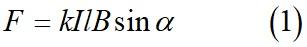 Сила действующая на проводник с током помещенный в магнитное поле (закон Ампера формула)