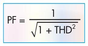 Соотношение между коэффициентом мощности и полными гармоническими искажениями