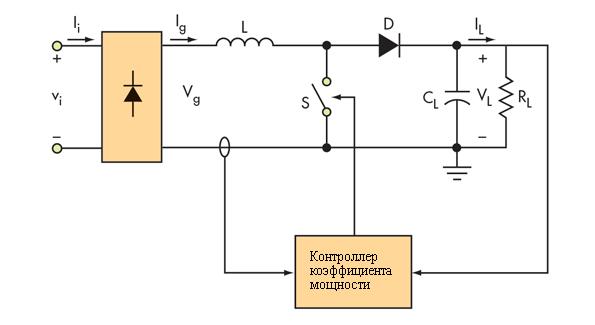 Схема пассивного корректора мощности