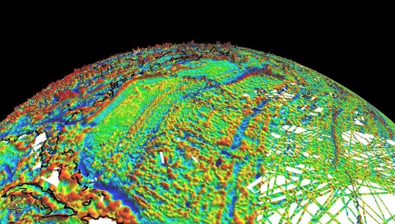 Карта магнитного поля Земли измеренная на одной высоте над уровнем моря