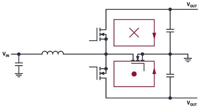 Концепция Silent Switcher применяется к boost преобразователю с магнитными полями, которые нейтрализуют друг друга