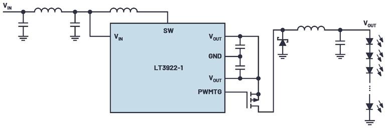 Пример схемы для драйвера светодиода, оптимизированного для минимального излучения и наиболее оптимальных электромагнитных помех