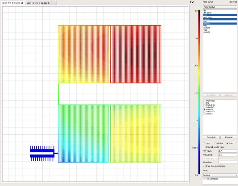 График распределения напряжения по схеме устройства показывает некоторые существенные расхождения в потенциале и задержке переключения
