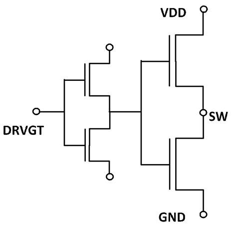 Показан типичный выходной каскад полевого MOSFET транзистора. Драйвер управляет устройствами высокого и низкого напряжения