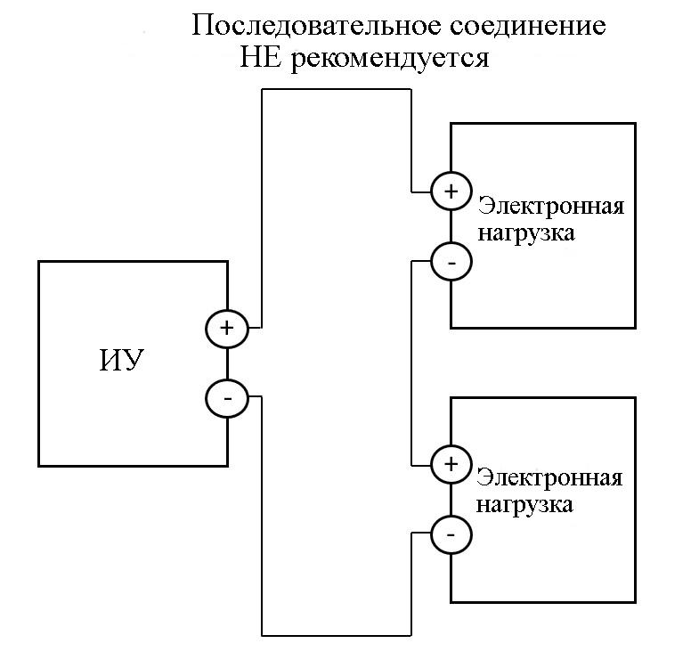 Последовательное подключение электронных нагрузок для увеличения допустимого напряжения не рекомендуется