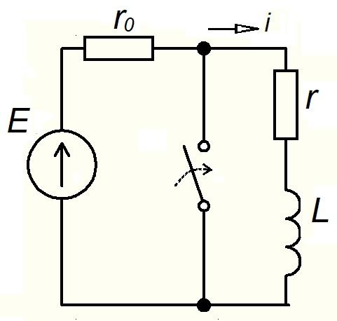 Короткое замыкание в RL цепи схема