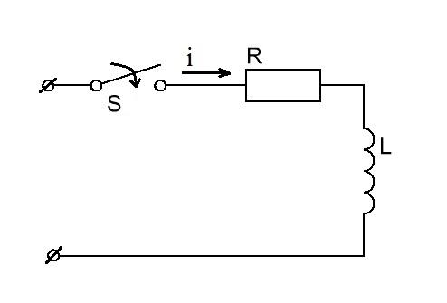 Включение RL цепи на постоянное напряжение